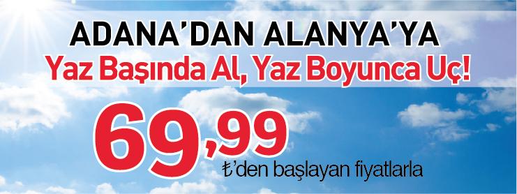 Borajet Alanya Adana karşılıklı uçak seferi