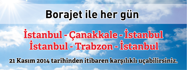 Borajet Trabzon Çanakkale uçak bileti kampanyası
