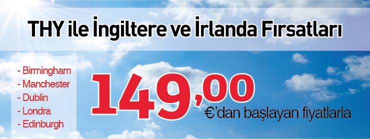THY İngiltere İrlanda uçak bileti kampanyası