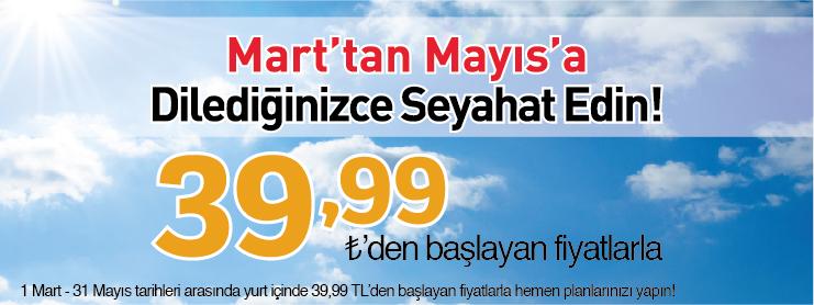 Pegasus yurtiçi mart-mayıs uçak bileti kampanyası