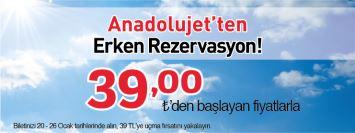 AnadoluJet Erken Rezervasyon Uçak Bileti Kampanyası