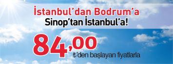 Borajet İstanbul Sinop Bodrum uçak bileti kampanyası