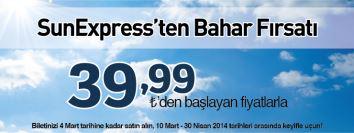 Sunexpress uçak bileti kampanyası