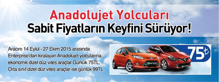 AnadoluJet Araç Kiralama Kampanyası Kampanya