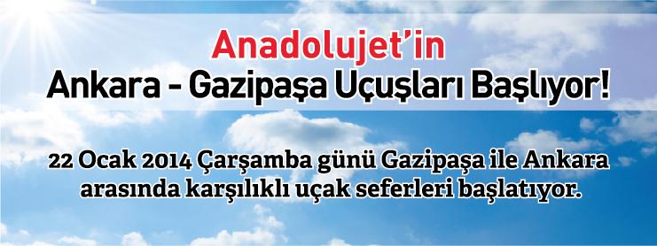 AnadoluJet Ankara Gazipaşa Uçak Bileti