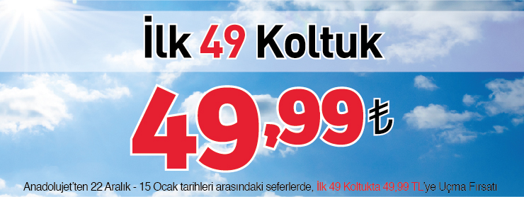 AnadoluJet İlk Koltuk 49 TL Kampanyası