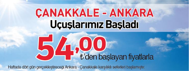 Borajet Çanakkale Ankara uçak bileti kampanyası