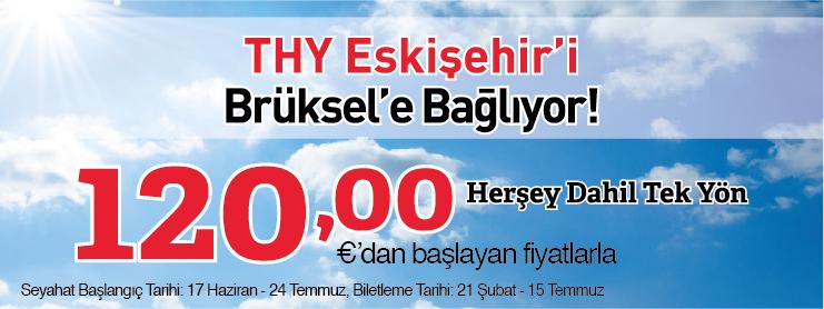 THY Eskişehir Brüksel uçak bileti kampanyası