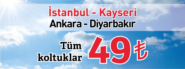 Onurair İstanbul-Kayseri Ankara-Diyarbakır karşılıklı seferler