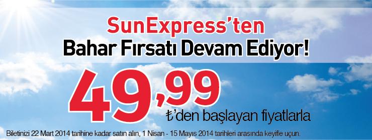 Sunexpress uçak bileti bahar kampanyası