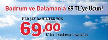 THY Sabiha Gökçen Dalaman Bodrum Uçak Bileti Kampanya