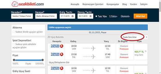 havayollarının uçuşlarını listeleme